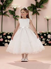 Joan Calabrese Style 114327- Sleeveless Satin and Organza Tiered Dress