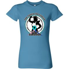 Thyroid Cancer Too Tough For Cancer...I'm a Survivor slogan on Women's Fitted T-Shirts featuring a female silhouette posing with strength and an awareness ribbon for activism