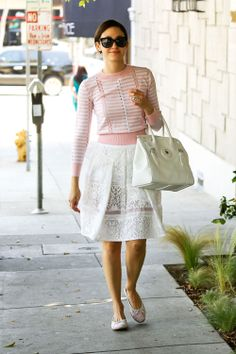 Emmy Rossum with Tibi lace midi skirt. Fashion Articles, Fashion Tips, Fashion Trends, Fashion Styles, Vogue, Girl Fashion, Womens Fashion, Fashion Addict, Spring Fashion