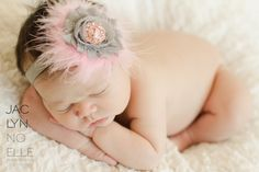 Gray  Pink Shabby Chic Flower Feather Headband With Stunning Rhinestone Center - Perfect Newborn Baby Girl Photo Prop. $5.99, via Etsy.