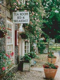English rose-lined tea room and B&B