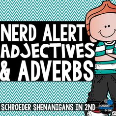 This product is part of my brand new NERD ALERT product series!This set is all about Adjectives and Adverbs!!!Check out my other products in this new series: NERD ALERT: NOUNSNERD ALERT: VERBSNERD ALERT: MONEYYou can also snag NERD ALERT Nouns AND Verbs bundled here:NERD ALERT: BUNDLE #1This pack includes anchor charts, task cards, flip flap resources and a game to practice adjectives, adverbs, and comparative and superlative adjectivesThe set includes:-Anchor charts for adjectives…
