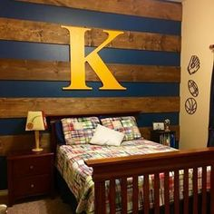 From our customer Brock...Perfect finishing touch to my son's wall. Started with the blue paint and stain planks but still felt like it was missing something. I was worried the large size of 37