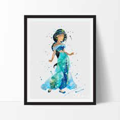 Princess Jasmine 3 Watercolor Art. This art illustration is a composition of digital watercolor images and silhouettes in a minimalist style.