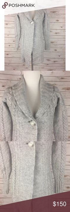 La Perla Villa Toscana Sz 40 / 4 Cardigan Sweater La Perla Gray Cardigan Sweater Gray Cable Knit, Heavy Weight Women's Size 40 (European) 4 (US)  Gently used - no stains or tears 40% Merino Wool / 30% Viscose / 20% Nylon / 10% Cashmere  Luxurious, soft, cozy and comfortable! Long thick knit cardigan sweater Single button front closure  Measurements (in inches): Chest (armpit to armpit) - 17 Sleeve (wrist to shoulder seam) - 22 Length (back of neck to bottom hem) - 29.5 La Perla Sweaters…