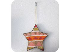 """Geometric Star III Ornament"" by #katnawlins on #etsy, $8.00 - #ornament #holiday #gift #art #hand-drawn #star #geometric #triangles #stripes #tribal #southwestern #colorful #funky"