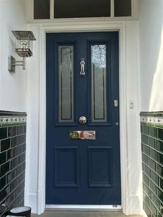 inspirational image from Farrow and Ball - Stiffkey Blue . - An inspirational image from Farrow and Ball - Stiffkey Blue . Front Door Porch, Grey Front Doors, House Front Door, Front Door Colors, Up House, Front Entry, Porch Doors, Blue Doors, Front Door Farrow And Ball