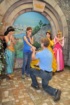 Being proposed to in front of Disney princesses? It would not be possible for me to refuse.