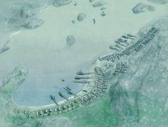 Kaupang set fra luften, Skiringssal, Norge – Ka upang, aus der Luft betrachtet, Skiringssal, Norwegen – Kaupang, seen from the air, Skiringssal in Norway