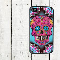 Sugar Skulls iPhone Case, iPhone 4, 4s Case Day of the Dead - iPhone 5 Case - Gifts Under 25. $16.00, via Etsy.