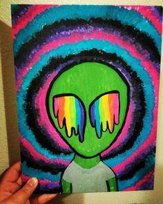 Trippy alien painting alien painting, trippy painting, hippie painting, back painting, easy Easy Canvas Art, Cute Canvas Paintings, Small Canvas Art, Mini Canvas Art, Canvas Ideas, Easy Canvas Painting, Hippie Drawing, Hippie Painting, Hippie Art