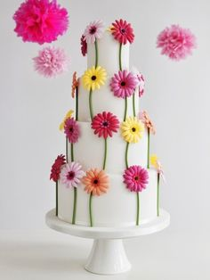 Gerbera Wedding Cake Zoe Clark Cakes