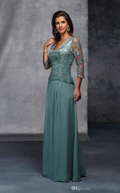 2017 V-Neck Floor Length Mother of the Bride Dresses Sleeves Sheer Lace Appliques A-Line Evening Dress Prom dresses AB132