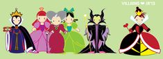 Evil Queen Grimhilde, Anastasia, Lady Tremaine, Drizella, Maleficent & Queen Of Hearts (Drawing by Suisei-Ojii-Sama All Disney Princesses, Disney Princess Art, Disney Fan Art, Disney Love, Walt Disney, Disney Magic, Disney Pixar, Evil Villains, Disney Villains