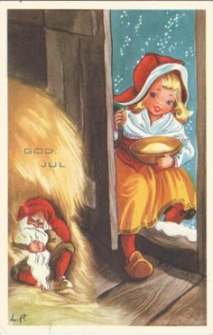 Someone will recognize their work!) This, for instance, is copyrighted! Christmas Mood, Christmas Gnome, Scandinavian Christmas, Xmas, Vintage Greeting Cards, Vintage Christmas Cards, Kobold, Christmas Pictures, Yule