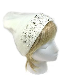 e43a154194e Details about New Fashion Cream Beanie with Rhinestone Accent Pearl Chic  Hat Winter Fashion