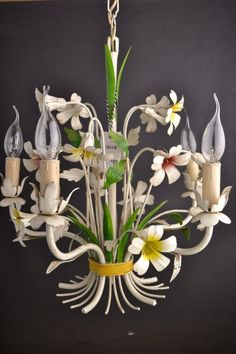 Beautiful painted toleware chandelier around 1950 Made out of iron. Wiring is perfectly working. Height: 19 inch / 48 cm Height with chain: Toleware, Tole, Flower Chandelier, Lamp, Lighting Inspiration, Vintage Flowers, Italian Chandelier, Light Crafts, Colorful Chandelier