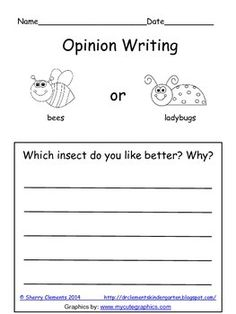 FREEBIE! Opinion Writing (bees and ladybugs) - kindergarten, first grade and second grade writing - bees or ladybugs - insects - writing center - literacy center