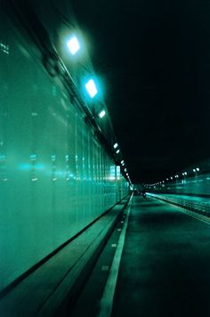 Ghostly green lights at night
