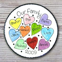 Personalized Family Plate - Our Family - Family Plate - Personalized Family Plate - Adoption Gift - Housewarming plate by LittleMissArtyPants on Etsy Painted Ceramic Plates, Hand Painted Pottery, Hand Painted Ceramics, Ceramic Painting, Painted Mugs, Decorative Plates, Sharpie Plates, Sharpie Crafts, Sharpie Art