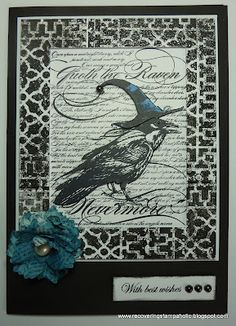 Siobhan explores and interesting theme for #Halloween - Black and White with a Pop of Blue! #Stampendous stamps featured!