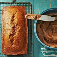 Pumpkin bread with spiced cocoa frosting.   Yum