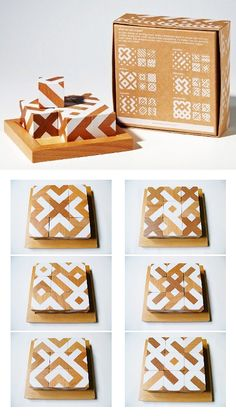 Motif Cubes and matching packaging Toy Packaging, Packaging Design, Spices Packaging, Wood Crafts, Diy Crafts, Montessori Toys, Designer Toys, Wooden Blocks, Wood Toys