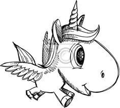Fototapete umrisszeichnung, gekritzel, einhorn - skizzieren sie doodle art einhorn pegasus alicorn  ✓  Einfache Montage ✓ 365 Tage Rückgaberecht ✓ Sieh andere Bilder dieser Kollektion!
