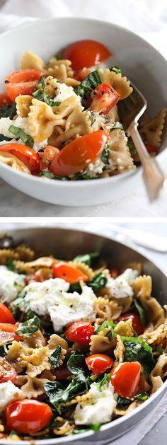 Clean Eating Fresh Tomato and Ricotta Whole Wheat Pasta Recipe