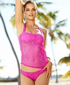 Becca Crochet Halter Tankini Top & Side-Tab Bikini Bottom - Swimwear - Women - Macy's