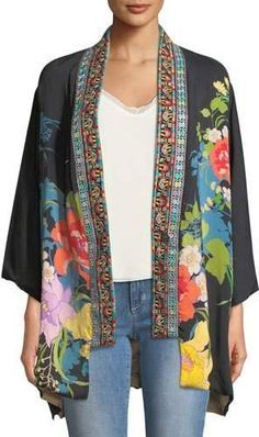 Johnny Was Fuskha Floral-Print Kimono, Plus Size
