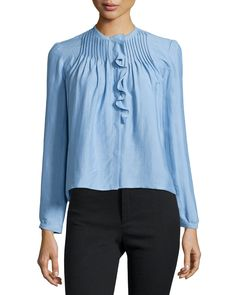 Long-Sleeve Pintuck Ruffle Blouse, Light Blue, Size: 42 - Isabel Marant