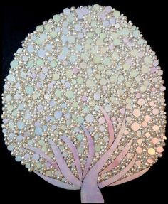 White tree Mosaic - looks like ceramic round tiles, pearls and stained glass Tile Art, Mosaic Art, Mosaic Glass, Mosaic Tiles, Fused Glass, Mosaic Crafts, Mosaic Projects, Projects To Try, Mosaic Madness