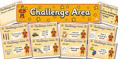 Twinkl Resources >> Challenge Area Pack- Superheroes >> Classroom printables for Pre-School, Kindergarten, Elementary School and beyond! Topics, Superhero, Challenge Area