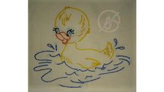 100% cotton hand embroidered baby animal towel duckling