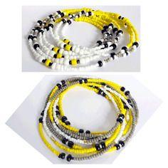 2 colliers ou bracelets * graphik jaune blanc duo * jaune, blanc, gris et noir en perles rocailles