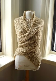 knit wrap-around with an earth-tone color. Worn with a darker-tone maxi skirt this can look cute. #fashion #handmade