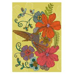 Make a statement above your mantelpiece or bring pattern and colour into the study with this poster, featuring a floral hummingbird design.