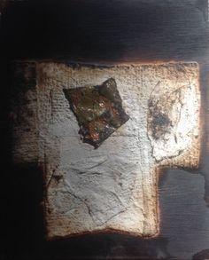 Nino Bellantonio. 'Five.' Encaustic Collage with mixed media on wood. 20cm x 25cm; 23cm x 28cm in platform frame). SOLD