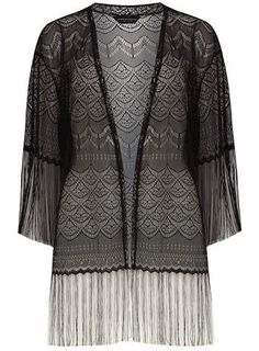 Be bang on trend with this stunning black lace kimono: reduced to £15 at Dorothy Perkins!