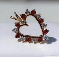 ESTATE 14k YELLOW GOLD DIAMOND & RUBY HEART PENDANT-.50CT TGW O-D 585 #OD…