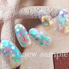 new sample♥︎お気に入り♥︎#nail #nails #nailart #Naildesign#hawai#aloha #ネイル#ネイルデザイン#ネイルアート#ハワイ#夏ネイル#ペイントネイル#gelnail #貝殻#ホログラム#キラキラ#Shiningly#sea#クリアネイル