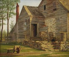 William Moore Davis - Long Island Homestead offered by Godel & Co Fine Art Inc. Hudson River School Paintings, Historical Images, Vintage Artwork, A4 Poster, Posters, Country Life, Country Living, Long Island, Paintings For Sale