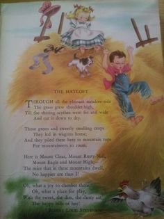 Childcraft Vol. The Hayloft by Robert Louis Stevenson, illustrated by R. Buehrig :-)I have and love this set of Childcraft, too.