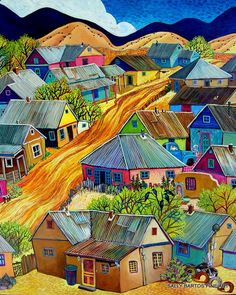 Pequeno Cuidad (Little Town) by Sally Bartos, New Mexico artist. Her work is available from bartos on Etsy.