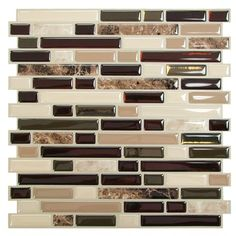 Shop Wayfair for Smart Tiles Mosaik 10 x 10 Metal & Marble Mosaic Tile in Brown & Beige - Great Deals on all Kitchen & Dining products with the best selection to choose from! Self Adhesive Backsplash, Peel Stick Backsplash, Backsplash Panels, Peel And Stick Tile, Stick On Tiles, Adhesive Tiles, Backsplash Tile, Backsplash Ideas, Smart Tiles