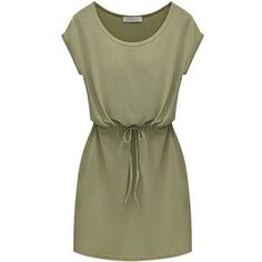 Army Green Cap Sleeves Drawstring Casual Dress ($11) ❤ liked on Polyvore featuring dresses, vestidos, short dresses, green, cap sleeve mini dress, short green dress, cap sleeve short dress and army green dress