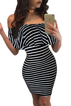 White Black Striped Off-shoulder Bodycon Dress. dropship-clothes.com ed1a1474b380