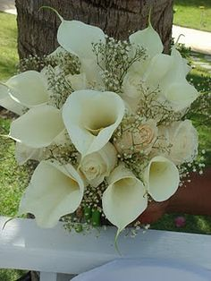 calla lilies, roses, baby's breath