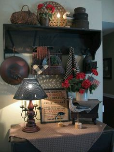 primitive decor vignettes in old hutch | Pinned by The Gatherings Antique Vintage